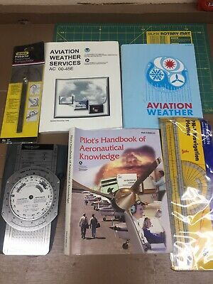 Used, ASA E6B Flight Computer Pilots Handbook Aeronautical Knowledge Aviation Weather for sale  Lufkin