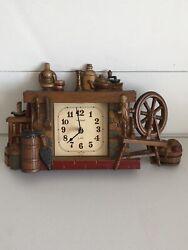 Vintage Burwood Wall Clock Fireplace Churn Broom Wheel New Haven Quartz 1982 US