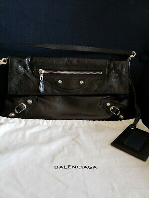 Balenciaga Giant 12 Envelope Arena Leather Clutch Bag with Strap