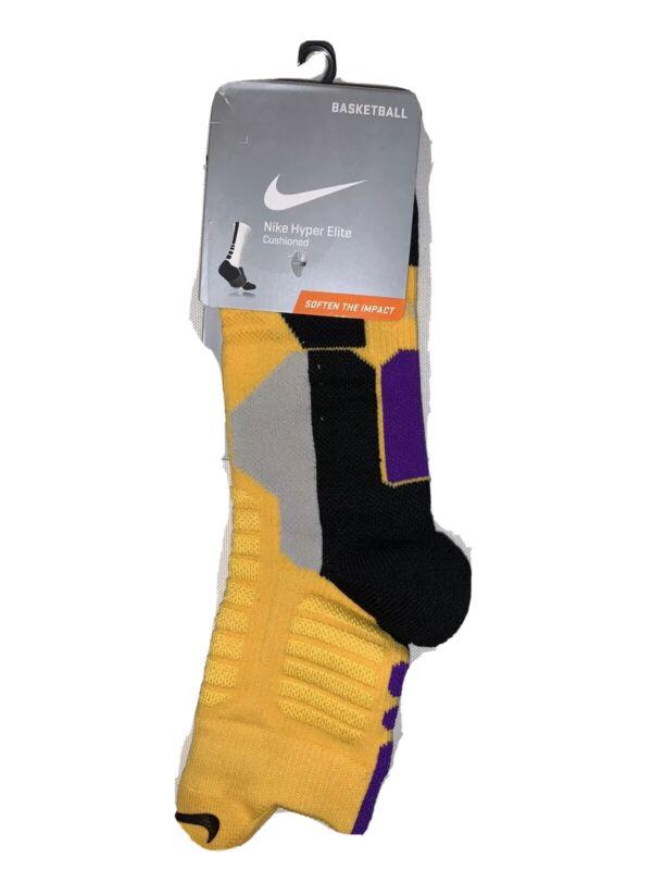 NIKE Hyper Elite High Quarter Basketball Socks LAKERS Gold, Blk, Purple LARGE