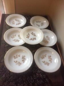 Federal milk glass gold leaf bowls