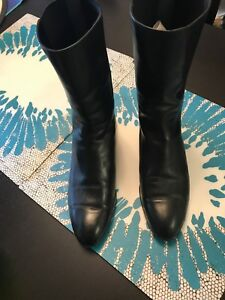 Manolo Blahnik mid calf flat leather boots