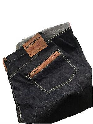 NEW KAPITAL LEWIS LEATHER Men's Leather Trim Jeans Size 36 Selvedge Denim Japan