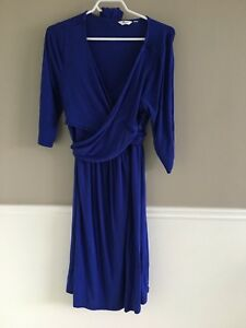 Blue wrap around maternity dress (large)