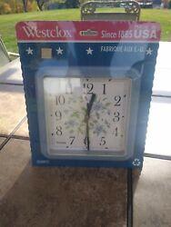Vintage Westclox Quartz Blue Floral Wall Clock NIB Make In USA!