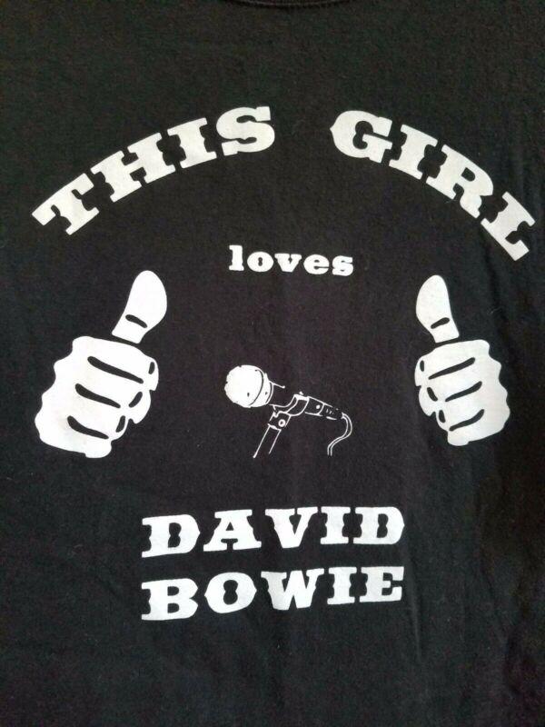 THIS GIRL LOVES DAVID BOWIE Black White T-Shirt Men
