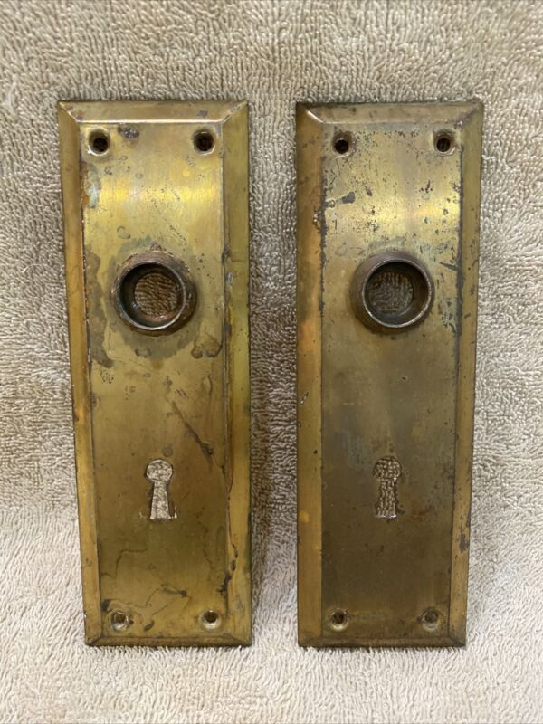Antique Set Of Stamped Steel Plain Classic Doorknob Back Plates Escutcheons