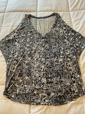 New Womens Size Xl X-large Ana Cold Shoulder Printed Casual Shirt Top Blouse
