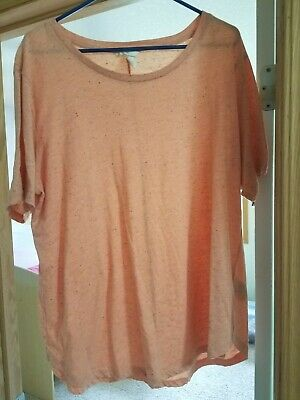 H&M Basic Basique Orange Speckle Short Sleeve Scoop Neck T-shirt Size XL EUC