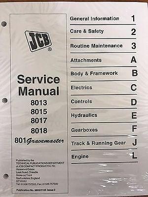 Jcb Service 8013 8015 8017 8018801 Excavator Manual Shop Gravemaster