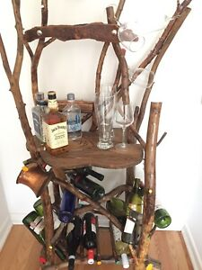 Handmade wooden alcohol bar