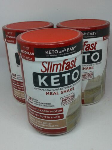 Slimfast Keto Meal Replacement Powder x3 Vanilla Cake Batter 12.2oz Each