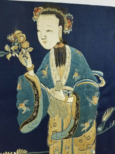 Antique Chinese Exceptional Silk Embroidered Panel Guanyin Kwanyin As Is Robe