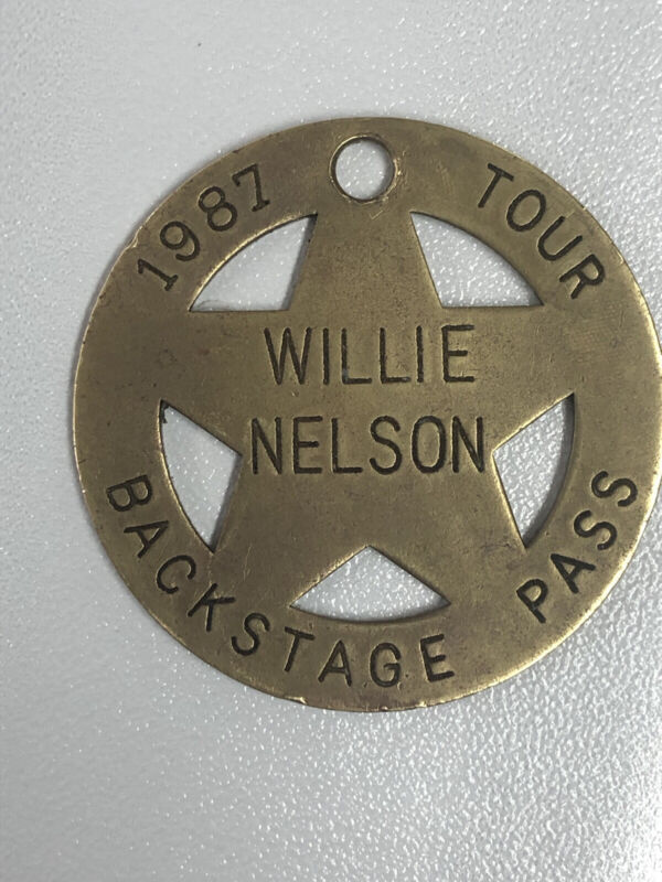 Vintage 1987 Tour Willie Nelson Backstage Pass Brass Key Chain Fob Star Badge