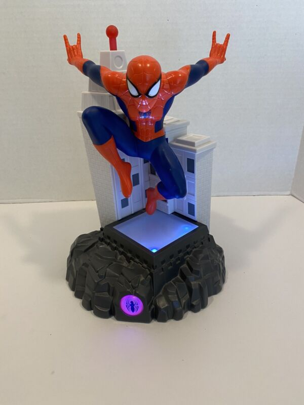 """Spider-Man Statue Coin Bank 11"""" W/ Lights & Sounds Marvel Peachtree Playthings"""