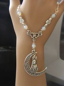 stunning silver moon gazing hare  pendant necklace ,pagan,wicca,Druids