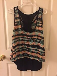 Teal and black racerback tank