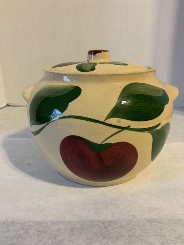 Vintage Watt Pottery #76 Apple Pattern Bean Pot With Lid