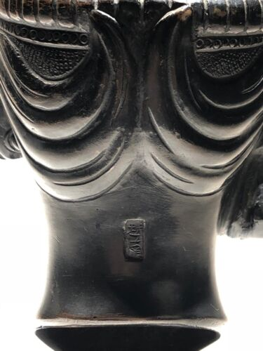 Antique Asian Signed Solid Bronze Sculpture on Museum Stand Buddha / Religious?