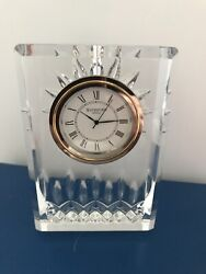 Beautiful Waterford Cut Crystal Small Mantel Clock, With Etched Waterford Mark