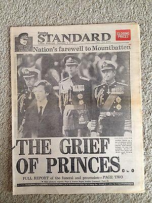 Louis Mountbatten Funeral 5th September 1979 Evening Standard