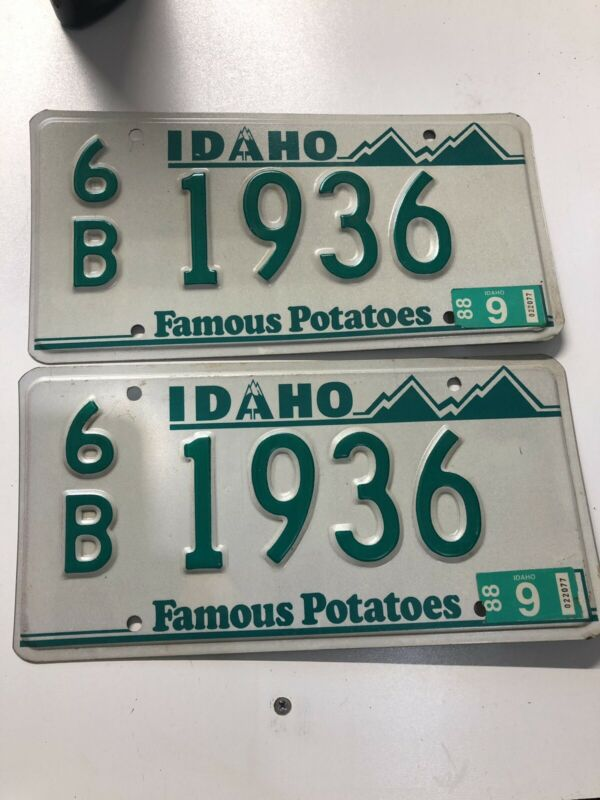 Vintage 80's Idaho License Plate Vanity Matched Set 6B  1936