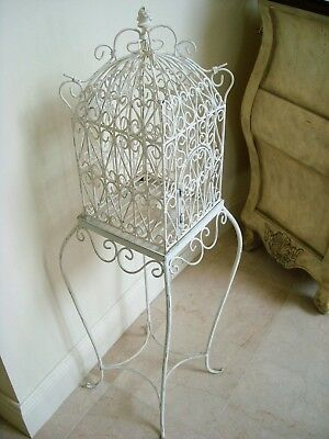 GORGEOUS METAL SQUARE SCROLLY DECORATIVE BIRD CAGE ON STAND ***SO PRETTY***