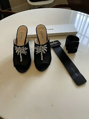The Attico black satin Crystal Embellishment mules with satin ankle cuffs 39