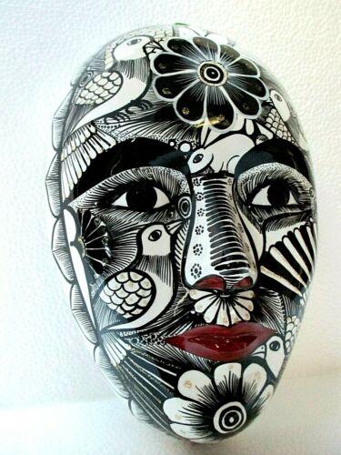 Mexican Folk Art Guerrero Fine Ceramic Pottery Wall Mask Woman