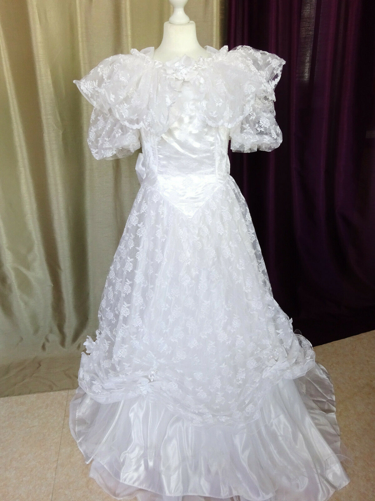 details about wedding dress vintage 70/80's tulle lace white size fr38 u6  uk10