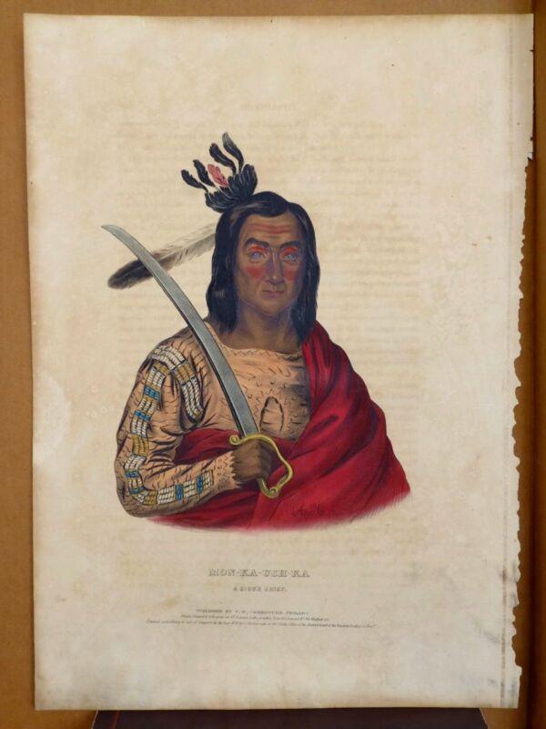 MON-KA-USH-KA SIOUX CHIEF Original Lithograph.McKenney & Hall. Hand-colored.1838