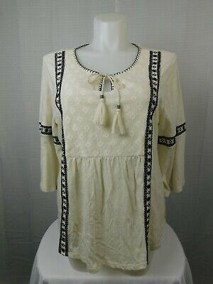 Style & Co Plus Size Lace-Trim Lantern-Sleeve Peasant Top 1X, Ditsy Ivory (Lantern Trim)