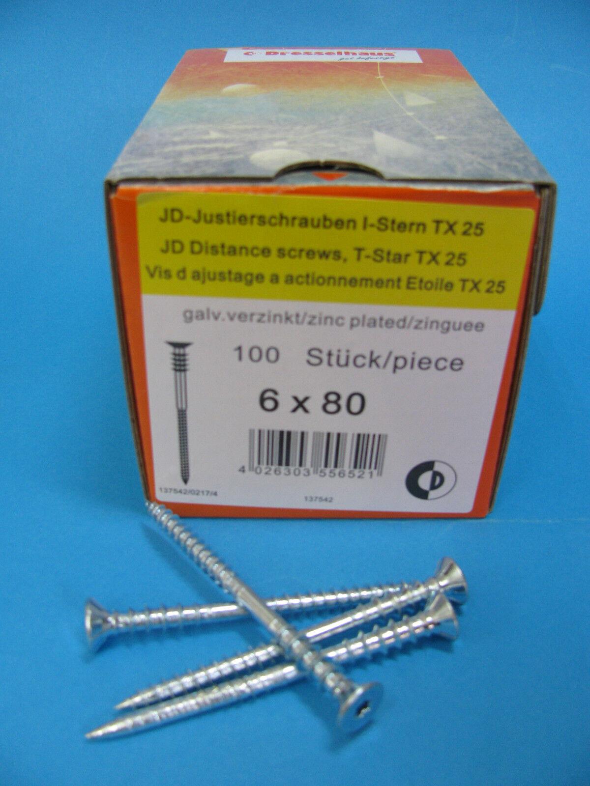 100 Stück Justierschrauben 6 x 70 mm Stellschrauben Frässpitze Torx verzinkt