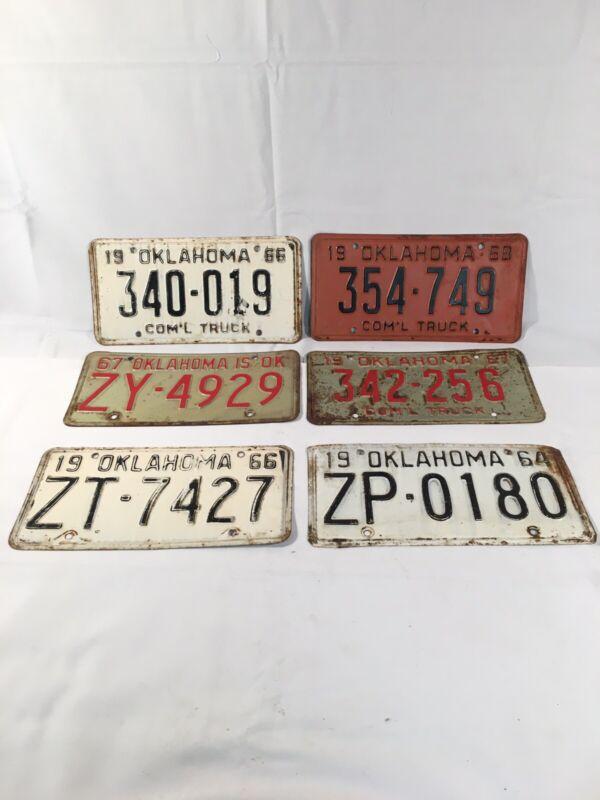 Vintage 1960s Oklahoma Lucense Plates Lot