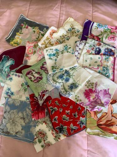 Vintage Floral Handkerchiefs lot of 19