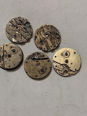 Vintage Antique Pocket Watch Movements Parts Steampunk Mixed Lot 3