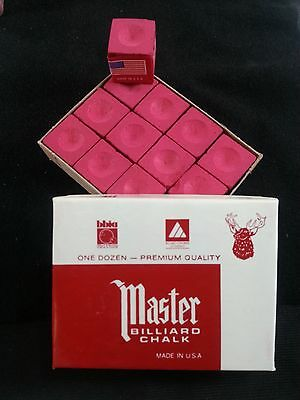 1 BOX ( 12 PIECES ) NEW RED MASTER CHALK PACK  - POOL & BILLIARD CUE CHALK
