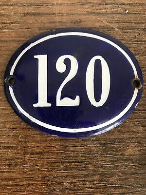 Genuine Early 20thC FRENCH HOUSE NUMBER 120-Enamel-Gate Post Door- Oval-Convex