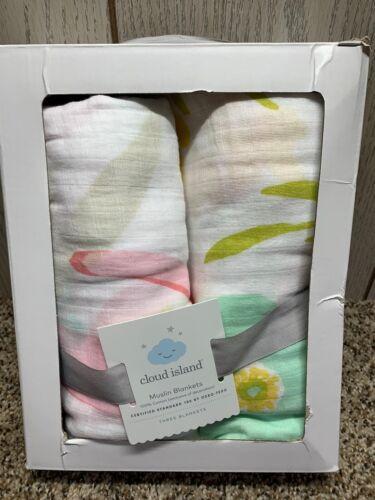 Cloud Island Muslin Swaddle Blankets. Floral. 2 Pack.
