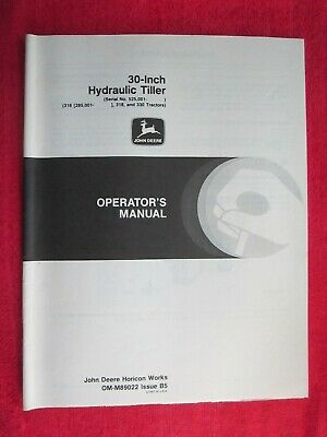 John Deere 316 318 330 Garden Tractor 30 Hydraulic Tiller Operators Manual