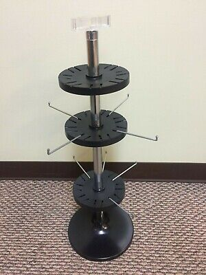 Countertop Spinner Display With Sign Holder 2 Tier Racks W 8 Hooks Brand New