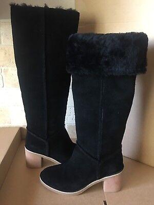 UGG KASEN TALL BLACK SUEDE SHEEPSKIN CUFF KNEE HIGH BOOTS SIZE US 5.5 WOMENS for sale  Oxnard