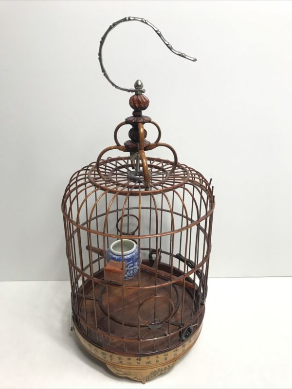 Vintage Chinese w/ Calligraphy & Painted Scenes Bird Cage
