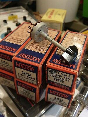 NOS Mallory 3223-J  3 position 2 ckt Non Shorting  Rotary Switch w/Knob