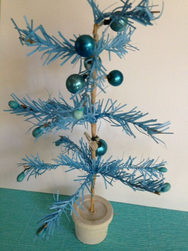 Antique Blue Feather Tree Made In Japan