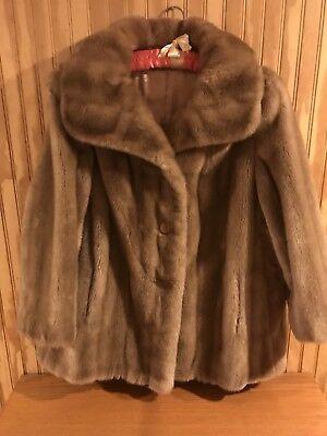 1920 Vintage Faux Fur Coat, caramel, button down (3). Sears Best, Sz