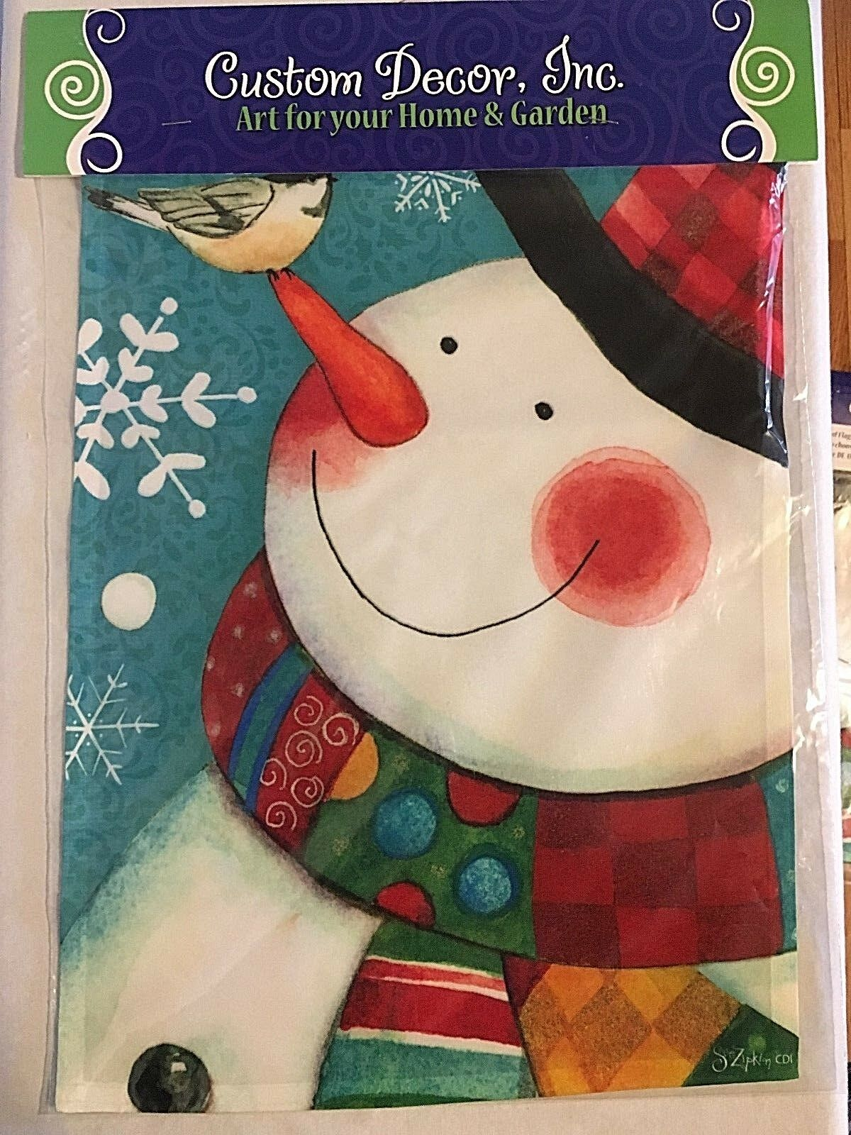 "NEW CUSTOM DECOR GARDEN FLAG MADE IN USA 12x18"" ""DAPPER SNOW"