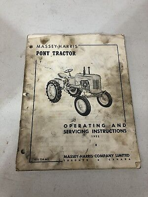 Massey-harris Pony Tractor 1952 Operating And Servicing Instructions Manual