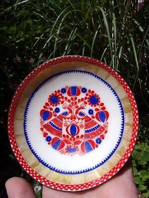 mid century enameled trinket dish~AUSTRIA~Peacocks design~gold~red~blue~vintage~