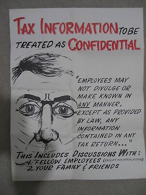 "TAX INFORMATION Poster 1960s IRS REVENUE SERVICE FEDERAL GOV RECORDS 17"" x 22"""